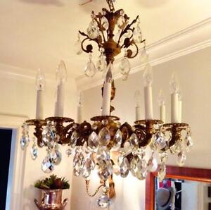 Made in Spain; 12 Arm Brass and Large Crystal Chandelier