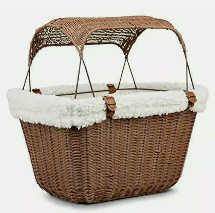 Solvit Outdoor Wicker Bicycle Basket Carrier Puppy Pet cat Portable Bike Seat