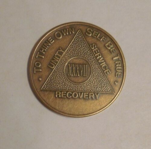 aa alcoholics anonymous bronze 37  year recovery sobriety coin token