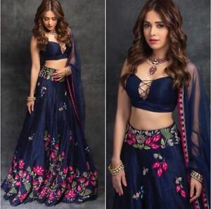 Blue LenghaCholi Indian Party Wear Lehenga Lengha Choli Pakistani Wedding Sari 0