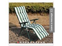Outsunny Garden Sun Recliner Chair W/ Cushions-Green/White