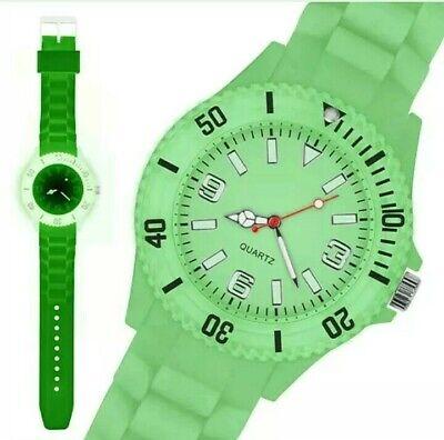 Silikon Armbanduhr Sportuhr Quarz Uhr Glow in the Dark Neon im Dunkeln leuchtend ()