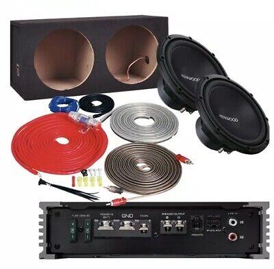 """Δύο 12 """"Kenwood Subwoofers, 500w Amplifier, Sub Enclosure και Amp Kit -Bundle"""