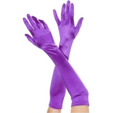 ML-452 Sexy Purple Satin Extra Long Opera Prom Evening Burlesque Gloves  - Purple Satin Gloves