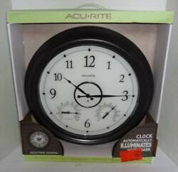 Large 18 Acurite Wall Clock Indoor Outdoor Thermometer Humidity