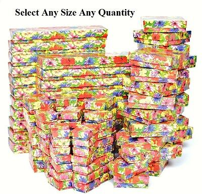 Cotton Filled Jewelry Boxes Floral Gift Boxes for Jewelry Lot of 20~50~100~500Pc