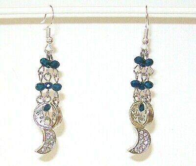 MOON EARRINGS-MOONS/ DARK BLUE CRYSTAL BEADS-SILVERPLATE/ALLOY-HANDCRAFTED# 857
