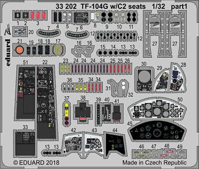 Eduard Zoom 33202 1/35 Lockheed Tf-104g Starfighter W/C2 Sièges Italeri