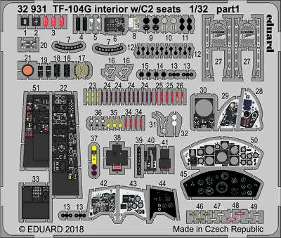 Eduard Pe 32931 1/32 Lockheed Tf-104g Starfighter Intérieur W/C2 Sièges Italeri