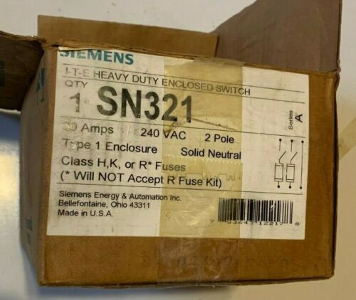 Siemens ITE SN321 Enclosed Switch Vacu Break Clampmatic 30A 2P 240V Fusible NEW