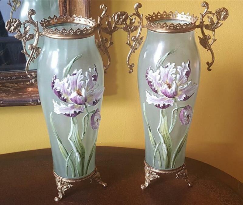 "Antique Mont Joye 14.5"" Green Glass Vase Hand Painted Iris & Gold Gilt Mounts"