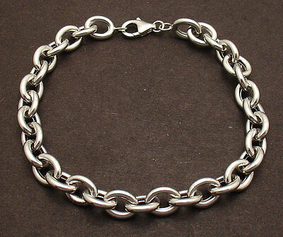 (High Polished 7.25mm Oval Rolo Link Charm Bracelet  Real 14K White Gold QVC)