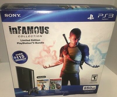 Sony PlayStation 3 PS3 250GB Uncharted Infamous Collection Slim Console 250 GB
