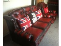 MINT Chesterfield 3 Seater Sofa & Chair High Back Oxblood Red Leather UK Delivery