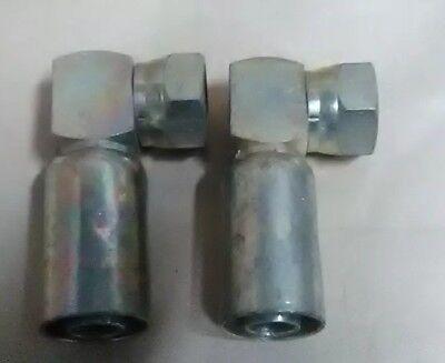2 Weatherhead Hydraulic Hose Crimp Fittings Female 90 Jic -14 X34hose 12u564