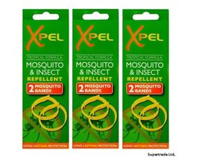 Adult Xpel Tropical Formula Mosquito & Insect Repellent Bands (DEET FREE) X 3