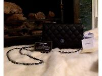 Chanel Wallet on Chain WOC Bag in Black Caviar Leather