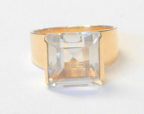 Rare Gustav Dahlgren Sweden 18K Yellow Gold Lrg 5 Carat Aquamarine Ring Size 9