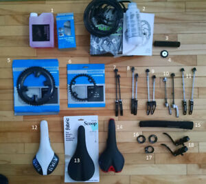 Bicycle Parts / Pieces de Velo,  Brakes, Saddles, Chainrings etc