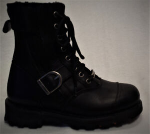 Bottes HARLEY Homme Taille 7 Cuir Lacé-Zip- une Courroie 105$ ZV
