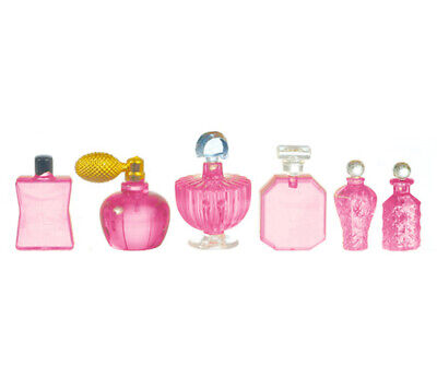 Dollhouse Miniature 6 Piece Perfume Set in Pink by Falcon Miniatures
