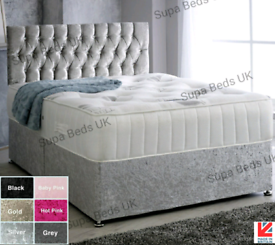 💜NEW DIAMANTE CHESTERFIELD BEDS + MATTRESS, SINGLE DOUBLE KING S.KING