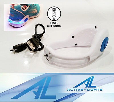 ACTIVE LIGHTS BLUE RED GREEN - White Rechargeable USB LED Safety Shoe Clip - Led Shoe Lights