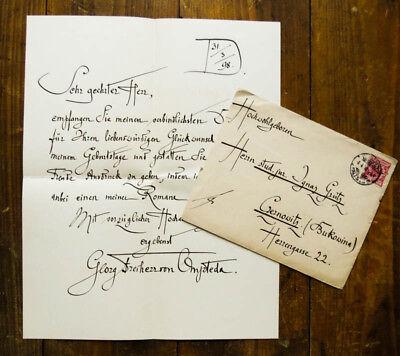 1898 Ompteda Georg Freiherr von (1863-1931) Eigenhändiger Brief