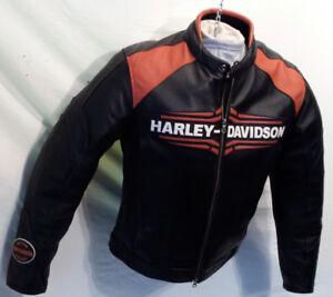 Manteau HARLEY Homme XLARGE Cuir Noir-Orange 285$ VO