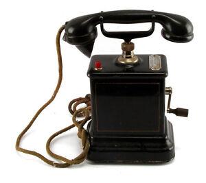 Antique Danish crank metal case desk telephone Aktieselskab 1920