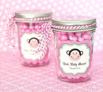 24 Personalized Pink Monkey Theme Mini Mason Jars Baby Shower Favors