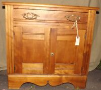 Antique Solid Maple commode with towel bar
