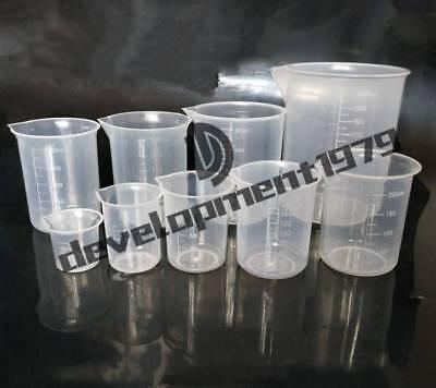5pcs New Plastic Beaker Set Lab Kitchen Measuring Cup Durable 50 100 150 250 500