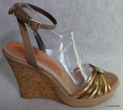 BCBGIRLS  Suede/Cork Wedge Heel Ankle Strap Strappy Sandals 8/8.5?
