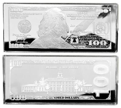 "2019 DATED PROOF 4oz CURRENCY UNC SILVER BAR FRANKLIN $100 ~ HUGE 2.5"" x 6"" .999"