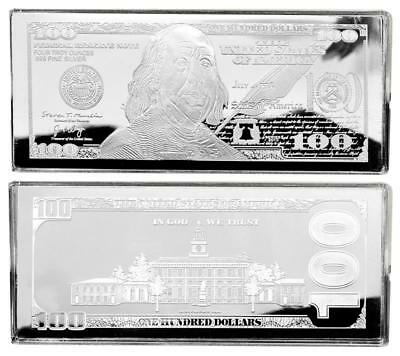 """2019 DATED PROOF 4oz CURRENCY UNC SILVER BAR FRANKLIN $100 ~ HUGE 2.5"""" x 6"""" .999"""