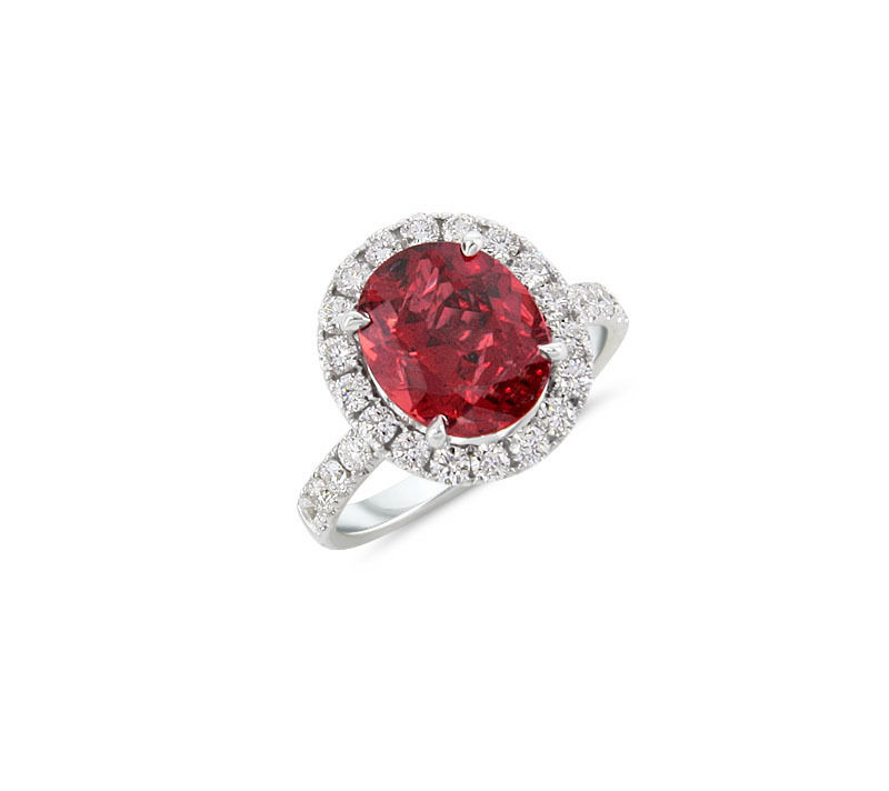 18kt White Gold Ruby & Diamond Ring Unheated