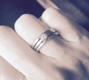 Hand crafted white gold and diamond wedding set