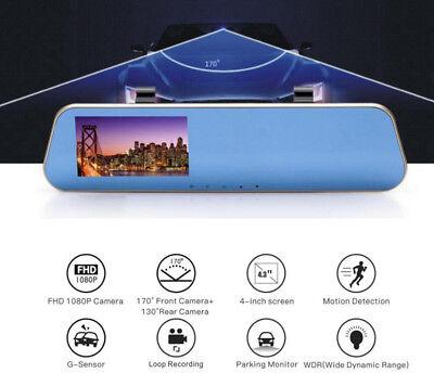 """Car DVR Review Mirror Total 2 lens Camera  HD 1080P Digital Video Recorder 4.3"""""""