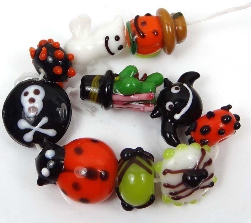 Lampwork Handmade Glass Beads Halloween Fun II (10)