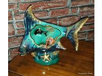Vintage/ Retro 1960s/1970s Italian Studio Ceramic Pottery Fish Lamp Very Unusual /Rare