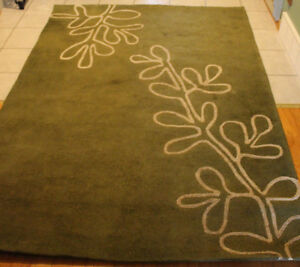 "Green Area Rug, Green 88""L X 64""W X 1/2"" Thick"