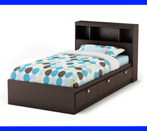 South Shore Spark Twin Storage Bed, Headboard + Spring Mattress