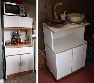 White Kitchen Cabinets Set with Wood Accents