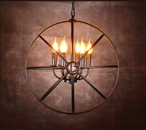 Industrial Round Chandelier Light Fixture Globe Metal