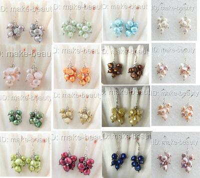 Baroque Freshwater Pearl Earrings - stunning big 9mm baroque freshwater pearls grape dangle earrings silver h2571-2