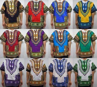 Dashiki Mens Womens Shirt African Top Hippie Vintage Boho Tribal Blouse One Size - Hippie Dashiki