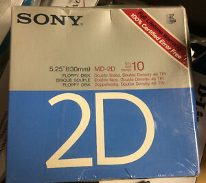"Sony MD-2D 5.25"" Floppy Disk Double Density 10 pcs"