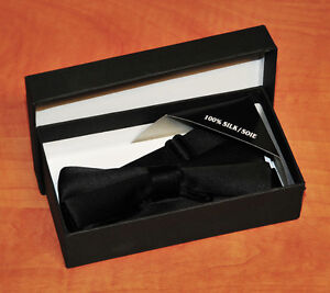 100% Silk Black Tie in Box (adjustable to fit any size of neck)