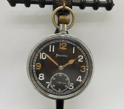 ANTIQUE HELVETIA MILITARY BLACK DIAL POCKET WATCH 52 MM. SPARE ONLY